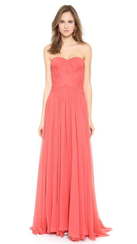 Marchesa Silk Chiffon Gown by Marchesa Strapless Silk Chiffon Gown Coral In Pink