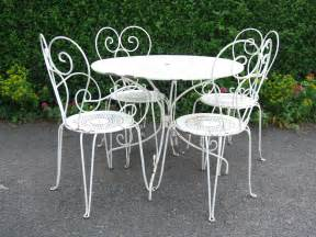 Vintage french wrought iron garden patio caf 233 table and 4 chairs