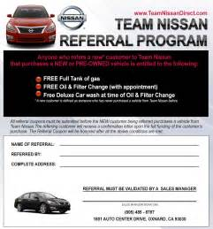 Sle Letter Referral Community Service Referral Program Team Nissan Dealership