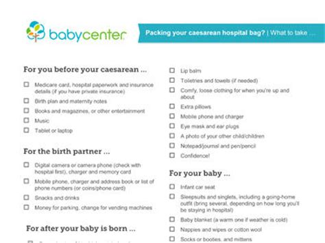 What To Pack In Your Caesarean Hospital Bag Babycenter Australia Elective C Section Birth Plan Template