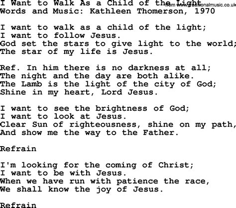 I Want To Walk As A Child Of The Light by Most Popular Church Hymns And Songs I Want To Walk As A
