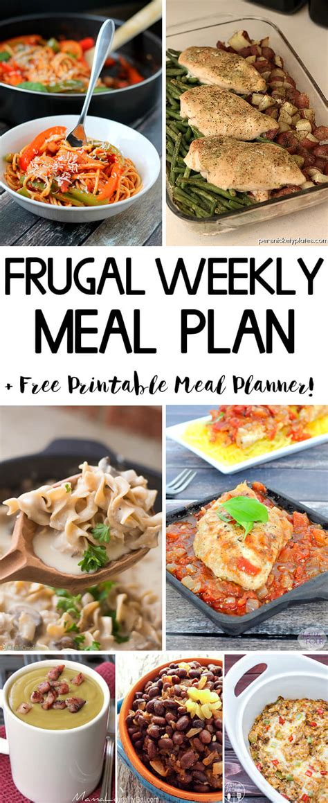 printable recipes for dinner frugal weekly meal plan wk 1 frugality gal