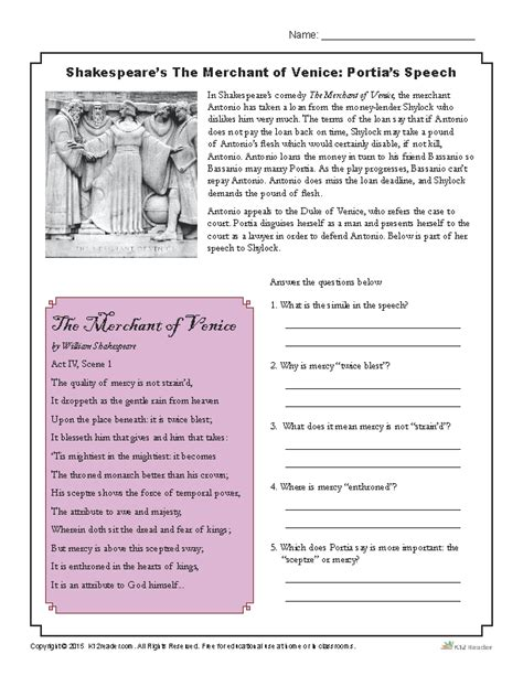 Shakespeare Worksheets by Shakespeare S The Merchant Of Venice Portia S Speech