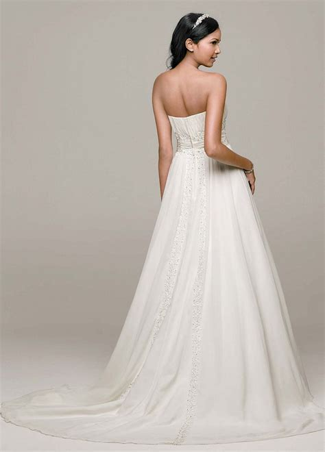 beaded empire waist wedding dress david s bridal chiffon soft wedding dress with beaded lace
