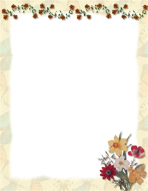 word flower border templates free flowers ideas