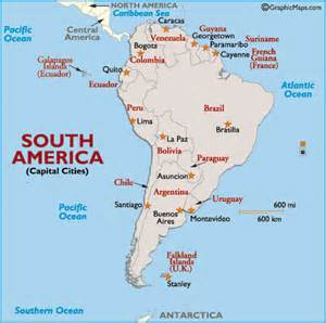 map of south america and their capitals south america capital cities map map of south america