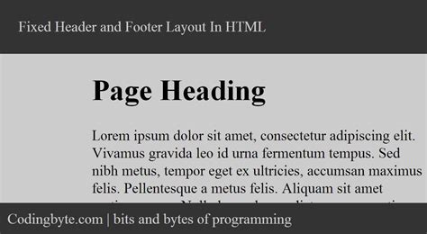 how to create a fixed header and footer layout in html