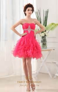 Strapless organza dress with ruffled skirt hot pink short prom dress