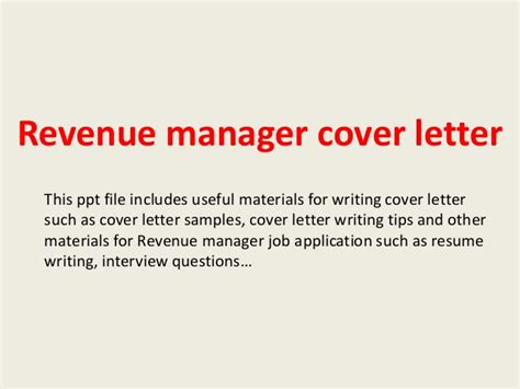 Revenue Officer Cover Letter by Revenue Manager Cover Letter