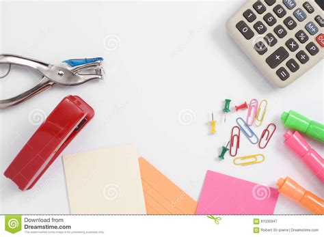 colorful office supplies colorful office supplies and calculator stock photo