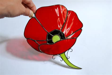 popular items for red poppy home decor on etsy poppy decor flower hanging stained glass panel red by
