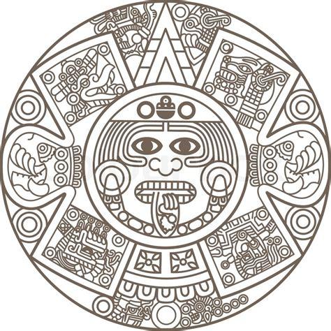 stylized aztec calendar stock vector colourbox