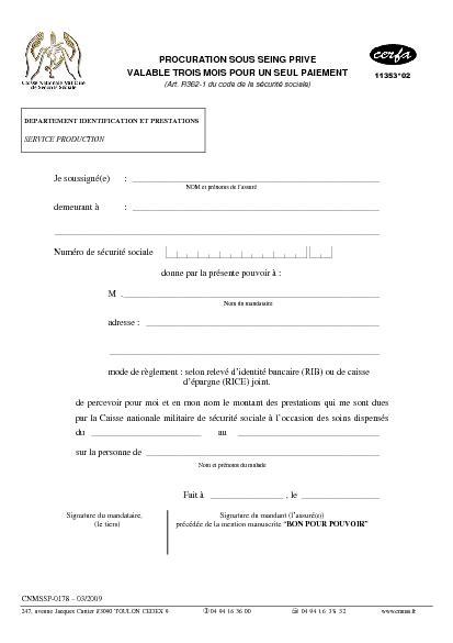 Exemple Lettre Procuration Sous Seing Privé Procuration Sous Seing Priv 233 Valable Trois Mois Pour Un Seul Paiement Formulaire Cerfa