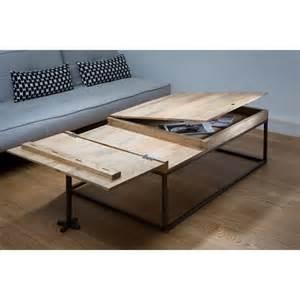 table basse plateau bois et metal ezooq