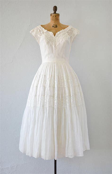 White Vintage Dress vintage 1940s white eyelet wedding dress from