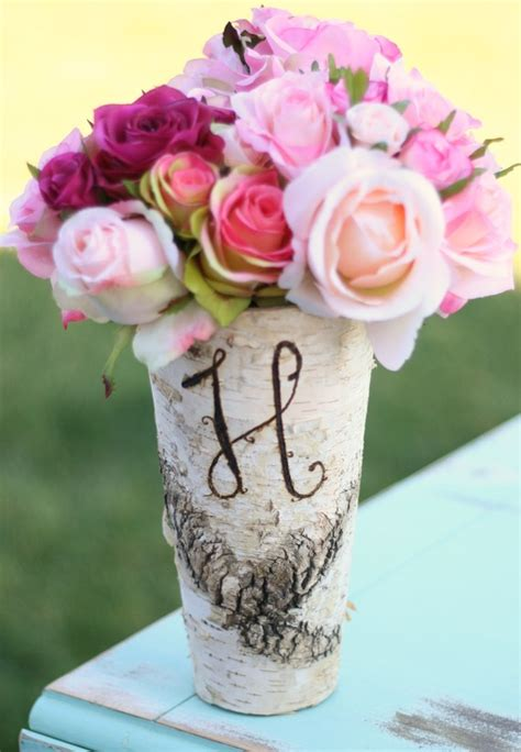 Wood Vases For Centerpieces by Items Similar To Birch Bark Wood Vases Rustic Wedding