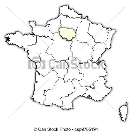 dibujos de mapa, francia, ile de france, destacado