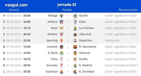 partidos jornada 23 liga espa 241 ola bbva 2016 liga