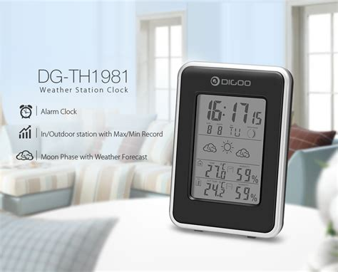 Jam Alarm Led Thermometer Hygrometer Forecast Weather Station digoo indoor outdoor weather station backlit thermometer hygrometer sensor alarm ebay