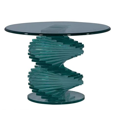 clear glass stacked table l stacked glass sculptural side table at 1stdibs