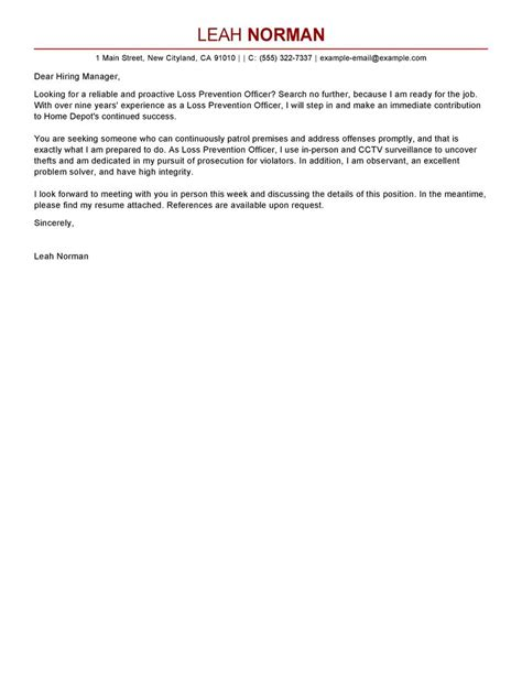 Leading Professional Loss Prevention Officer Cover Letter