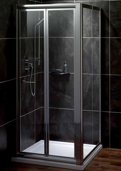 Saneux Wosh S2115 Polished Chrome Bi Fold Shower Door Bi Fold Shower Doors 700mm