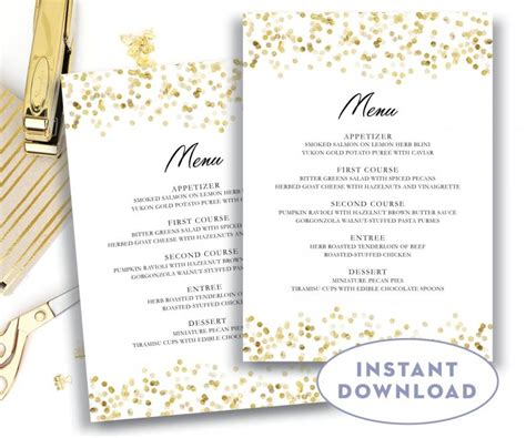 Gold Wedding Menu Template 5x7 Editable Text Microsoft Word Menu Card Template Gold Confetti Free Wedding Menu Templates For Microsoft Word