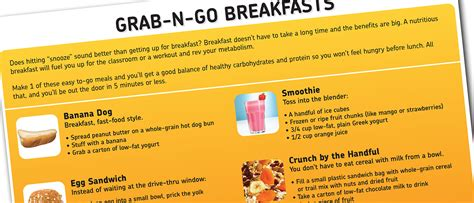 printable healthy breakfast recipes breakfast recipes grab n go quick healthy breakfasts
