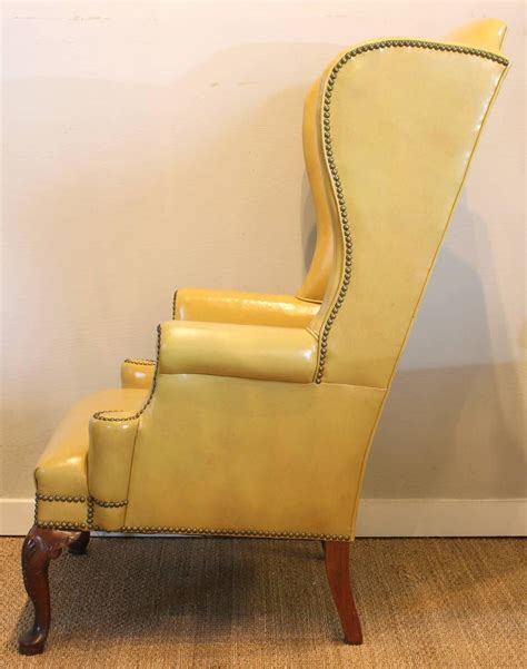 Mustard Leather Armchair Mustard Yellow Leather Wing Chair At 1stdibs