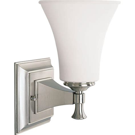 brushed nickel bathroom sconces progress lighting fairfield collection 1 light brushed nickel bath sconce with opal
