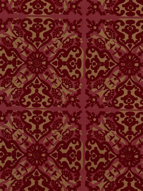 wallpaper with velvet design paola s spanish tile flock velvet wallpaper burgundy red