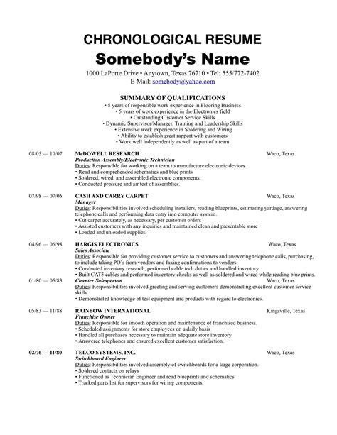 resume summary of qualifications sle chronological resume template recentresumes