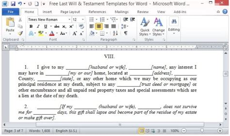 Free Last Will And Testament Template For Word Free Will Template For Microsoft Word