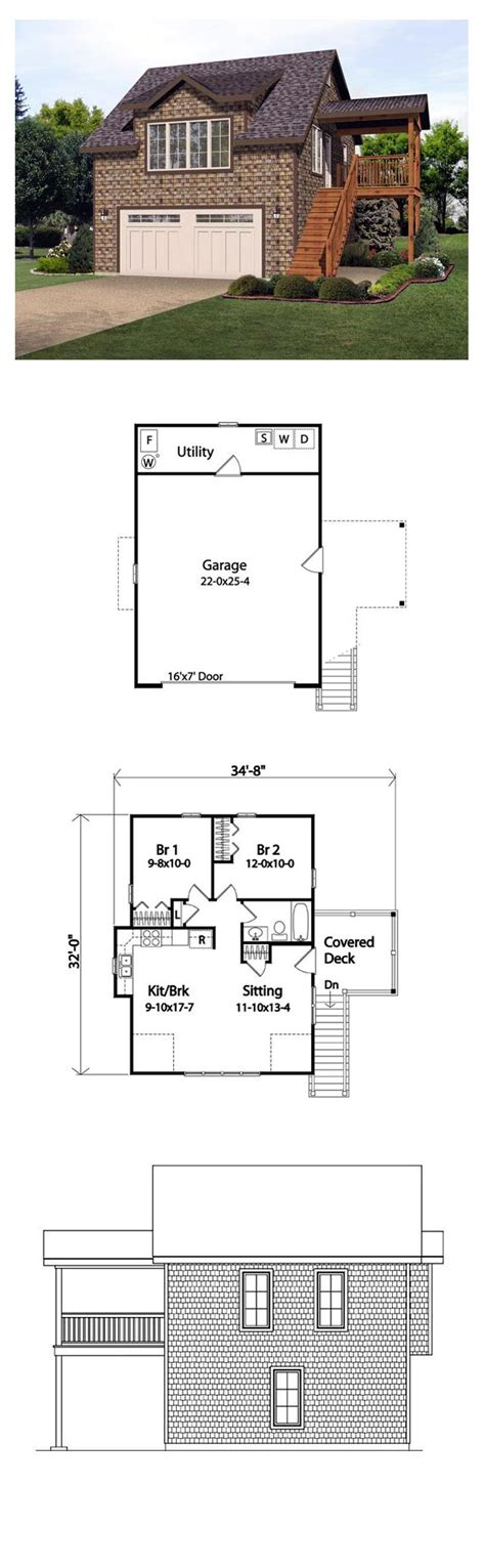 garage plans with living area garage plan 45121 total living area 881 sq ft 2