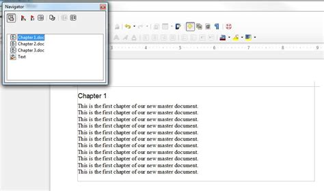 libreoffice file format how to create a master document with subdocuments in