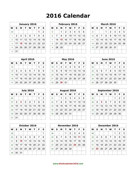 printable year calendar 2016 yearly calendar printable
