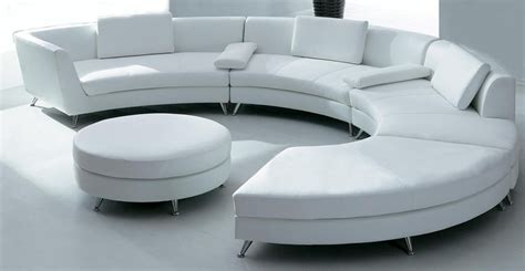 Circle Sectional Sofa White Circular Leather Sofa W Ottoman Sf03 Qty 4 Couches Sectionals Seats