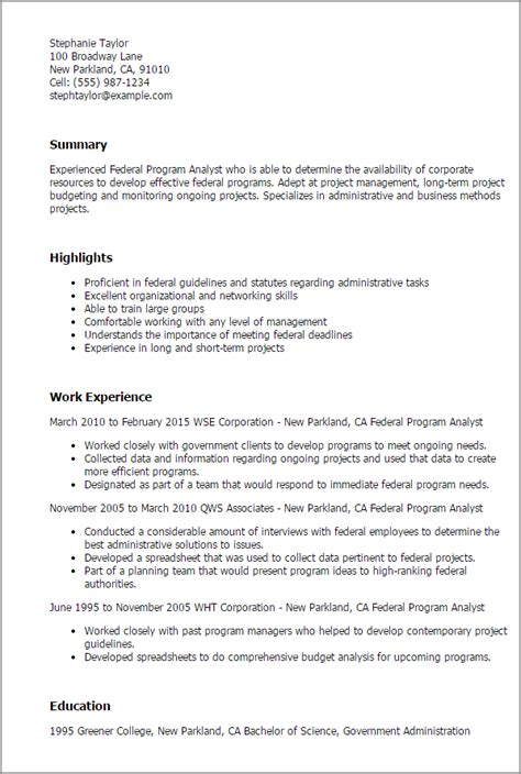 Program Analyst Cover Letter by Professional Federal Program Analyst Templates To Showcase Your Talent Myperfectresume