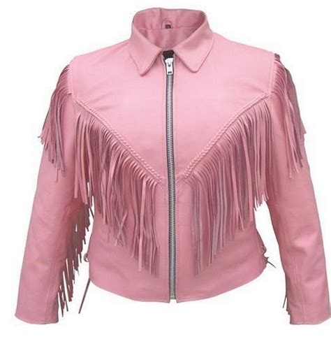 pink motorcycle jacket womens pink fringe leather jacket item al2121 leather