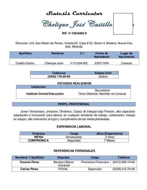 Plantilla De Sintesis Curricular S 237 Ntesis Curricular
