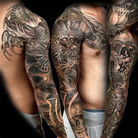 oriental grey dragon tattoo male full sleeves k