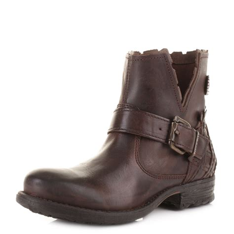 womens replay soup brown gold leather biker