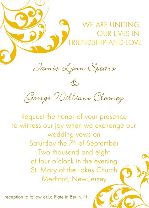 invitation formats templates wedding reception invitation templates free