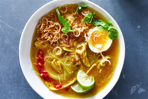indonesian chicken soup  noodles turmeric  ginger