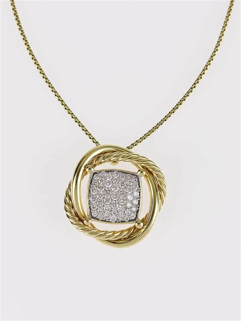 David Yurman Infinity Necklace David Yurman 18k Gold 11mm Pave Infinity Pendant