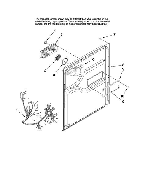 maytag dishwasher parts diagram door and latch parts diagram parts list for model