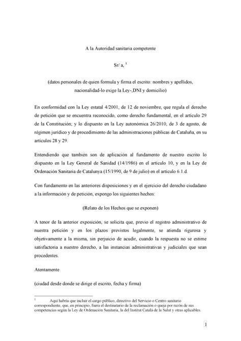 formato solicitud a una autoridad administrativa gratis el derecho de petici 243 n un derecho fundamental que hemos