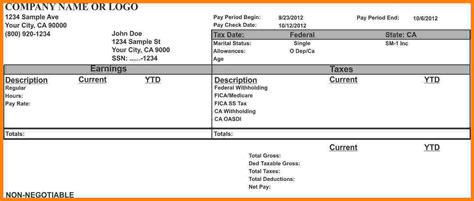 stub template payroll pay stub template fiveoutsiders