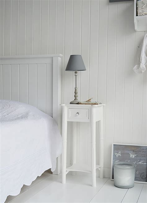 Bedroom Table L White A Narrow White Bedside Table With Drawer And Silver
