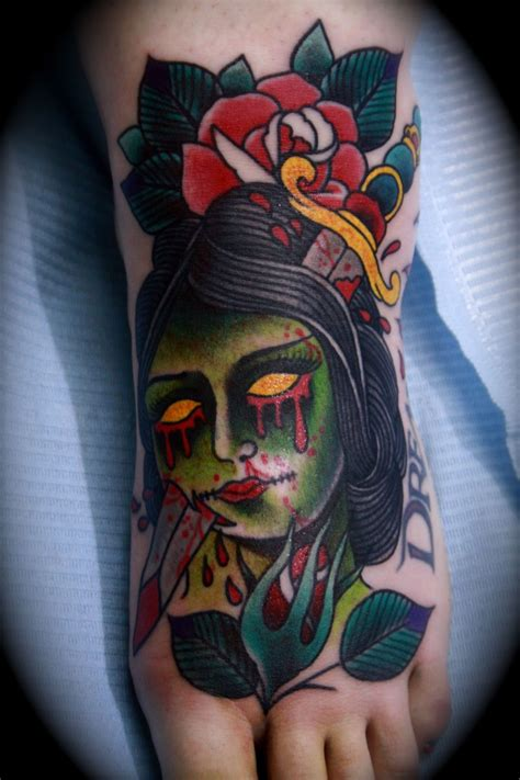 tattoo zombie new school small old school style colored bloody zombie head tattoo